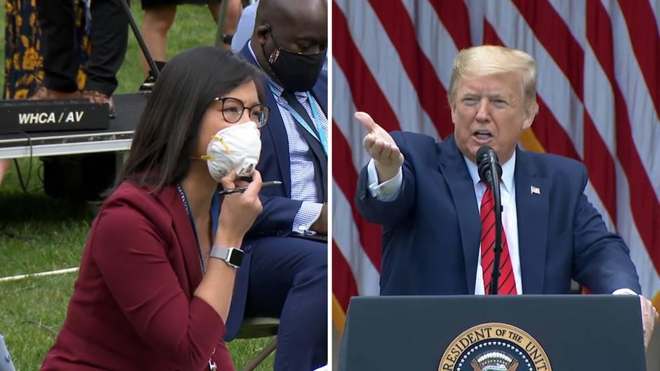 US-Präsident Donald Trump bricht Corona-Briefing nach Streit mit Reporterin ab.