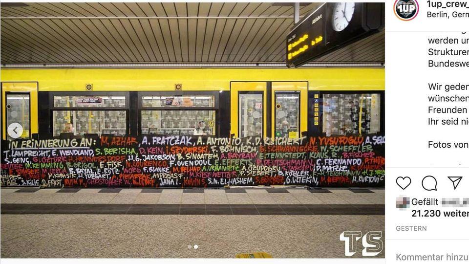 """Berlin: """"Ihr seid nicht vergessen!"""": Sprayer erinnern mit U-Bahn-Graffito an die Opfer rechten Terrors"""