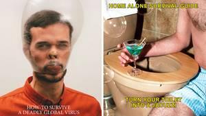 Ein Mann mit Kondom auf den Kopf und eine Toilette als Jacuzzi