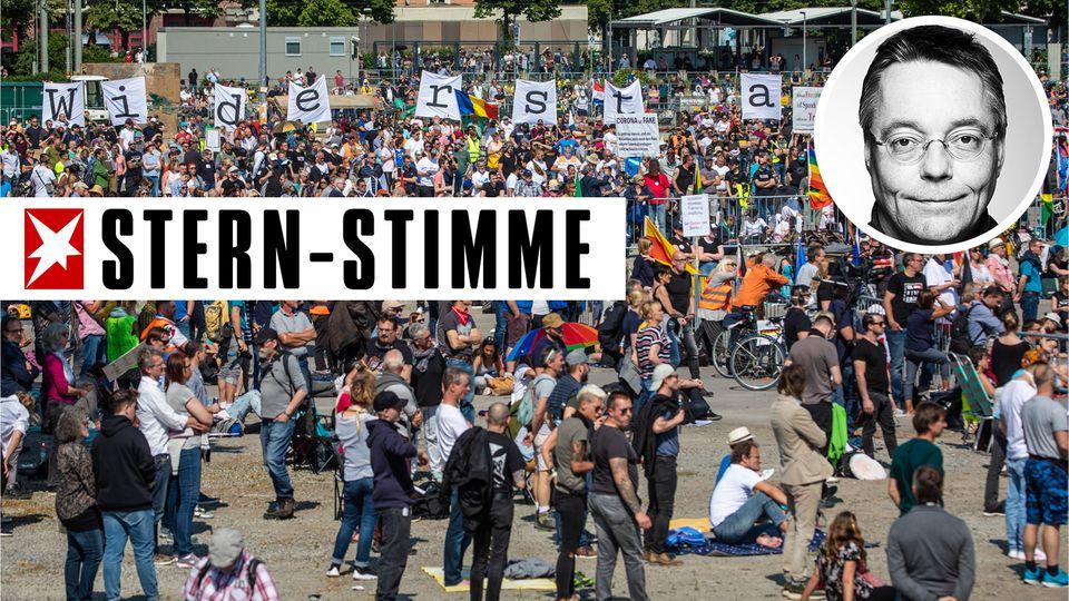"""Protestkundgebung der Initiative """"Querdenken"""" auf den Cannstatter Wasen"""