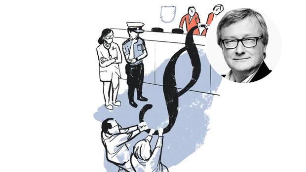Illustration von Mesnchen vor Gericht