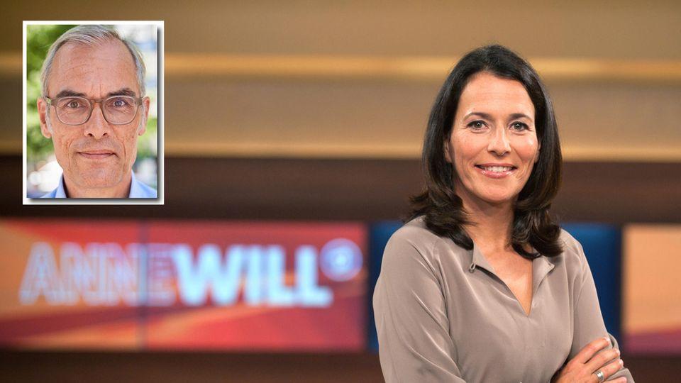 Anne Will und Kommentator Frank Schmiechen im kleinen Bild oben links