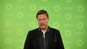 Robert Habeck spricht vor einer grünen Wand