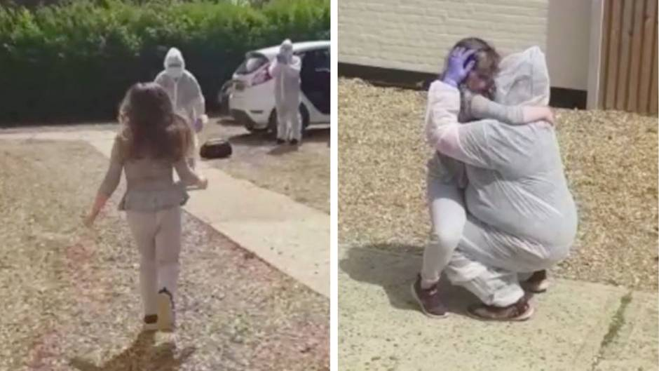 Emotionale Begegnung: Nach zwei Monaten Kampf gegen Corona: Pflegerin sieht ihre Tochter zum ersten Mal wieder