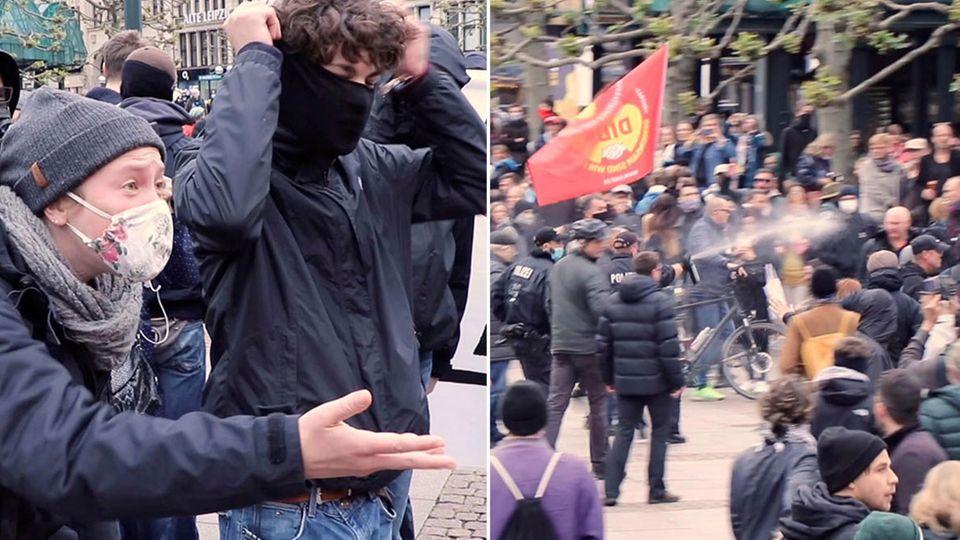 Demonstrationen, Menschen mit Mundschutz