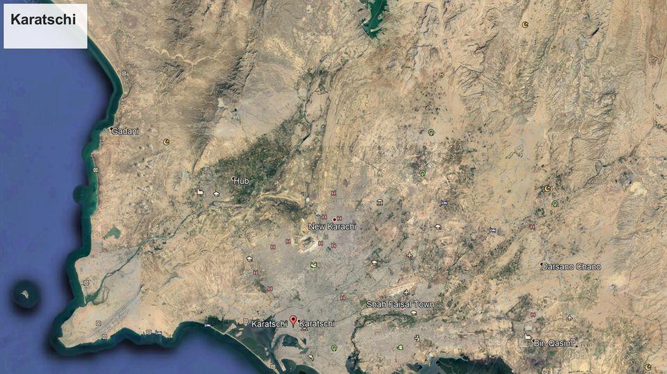 Eine Karte der Region im Süden Pakistans. Das Flugzeug stürzte in Karatchi ab.