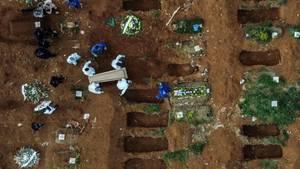 Blick auf ein Gräberfeld in Vila Formosa, einem Stadtteil von Sao Paulo