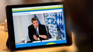 Gestreamte Parteitagsrede von Markus Söder beim virtuellen CSU-Parteitag