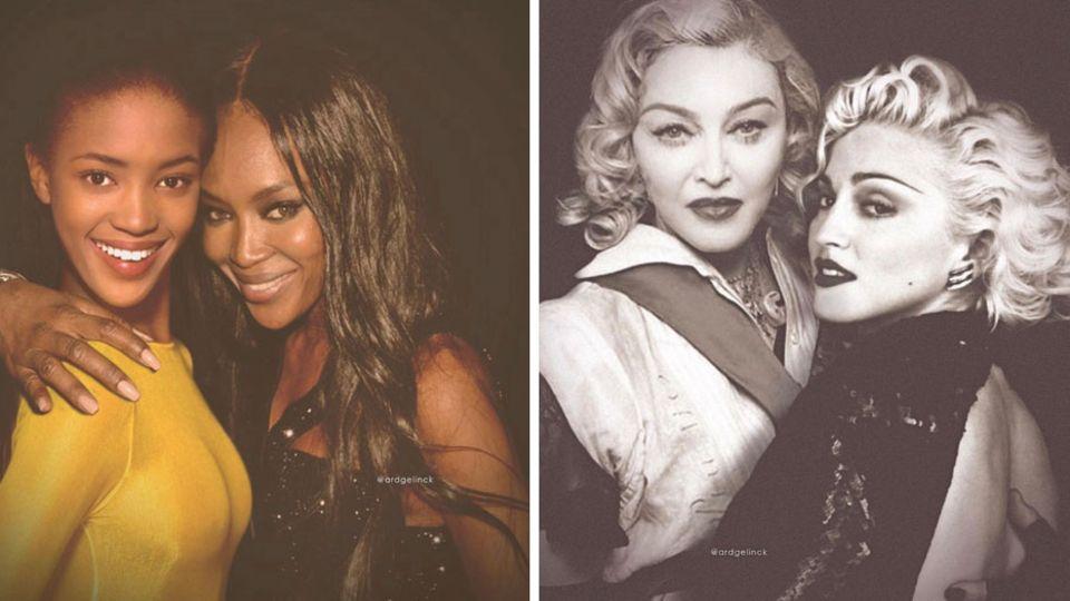 Auf den Fotos umarmen Madonna und Naomi Campbell ihr jüngeres Ich