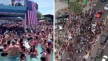 """Feiern ohne Abstand: Am """"Memorial Day"""" versammeln sich Dutzende Amerikaner im Pool und am Strand."""
