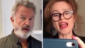 Sam Neill hat ein witziges Homevideo zusammen mit Helena Bonham Carter gedreht.