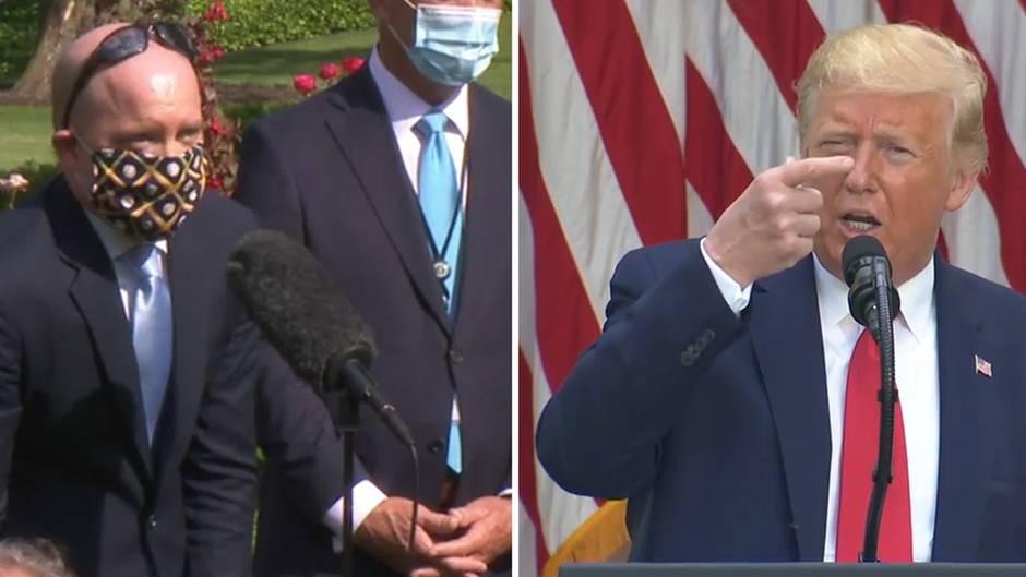 Bei einer Pressekonferenz vor dem Weißen Haus kritisiert Donald Trump einen Reporter, der eine Maske trägt.
