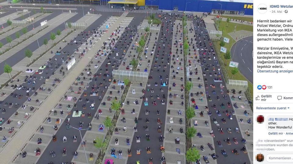 Wetzlar: Um Abstand zu halten: Hunderte Muslime versammeln sich zum Beten auf Ikea-Parkplatz