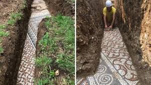 Negrar: Römischer Mosaikboden wird metertief unter italienischem Weinberg entdeckt