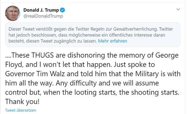 Von Twitter als gewaltverherrlichend markierter Tweet