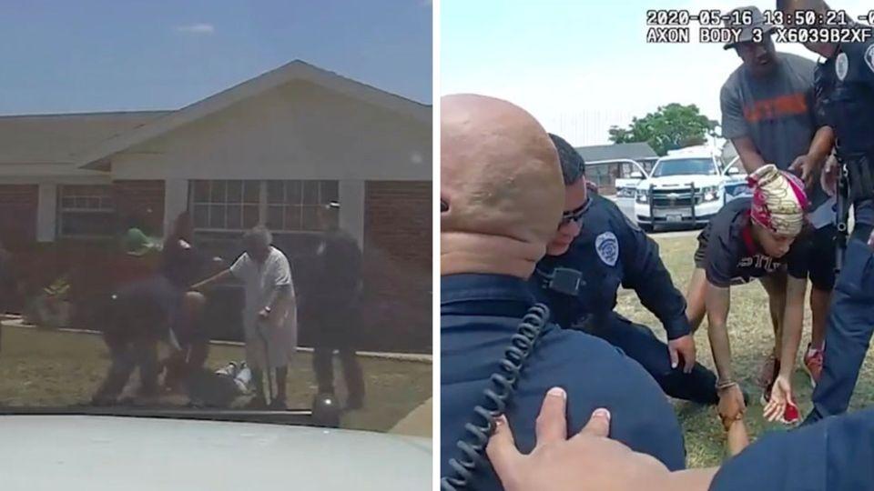 Um ihren Enkel zu schützen, ist eine 90-Jährige Oma vor die Polizei getreten.