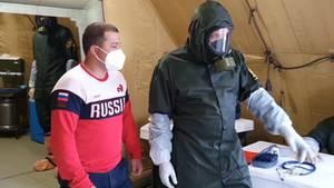 Ein Feldhospital der russischen Armee in Dagestan