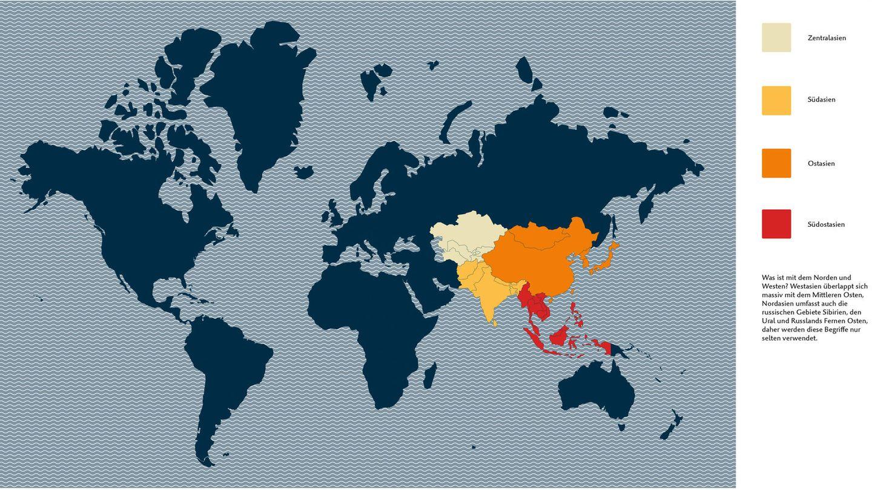 """Was meinen wir, wenn wir """"Asien"""" sagen?  Was ist mit dem Norden und Westen? Westasien überlappt sich massiv mit dem Mittleren Osten, Nordasien umfasst auch die russischen Gebiete Sibirien, den Ural und Russlands Fernen Osten, daher werden die Begriffe nur selten verwendet."""