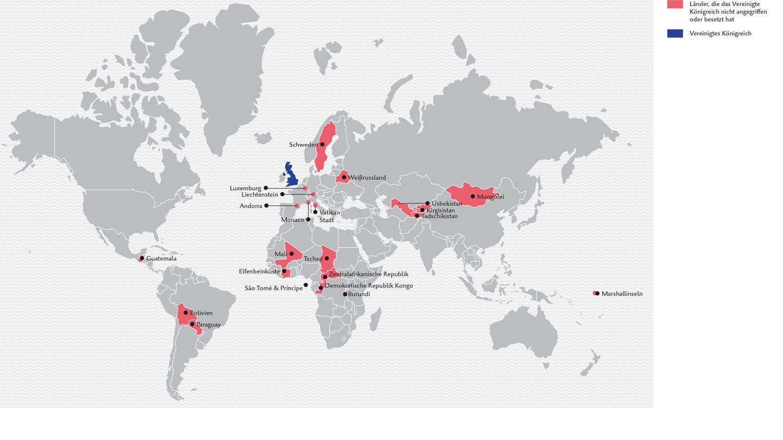 22 Länder, die das Vereinte Königreich nicht angegriffen hat  Grau schattiert sind jene Länder (oder die historischen Vorläufer), die irgendwann in der Vergangenheit entweder vom Vereinten Königreich (oder seinem historischen Vorläufer) angegriffen oder sogar besetzt wurden.
