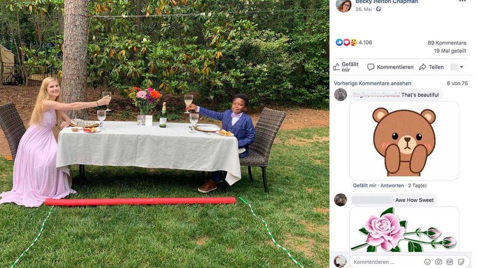 Corona-Krise : Siebenjähriger veranstaltet für seine Babysitterin einen Abschlussball im Garten