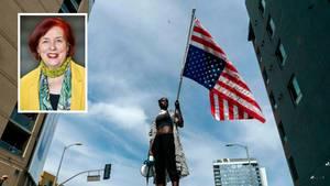 Eine Demonstrantin in Los Angeles (USA). Kleines Bild: die Politikwissenschaftlerin Christiane Lemke.