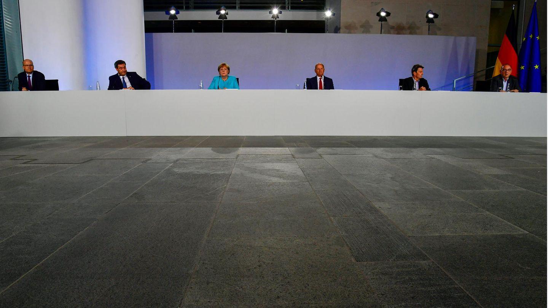 Die Koalitionsspitzen bei einer Pressekonferenz im Bundeskanzleramt in Berlin