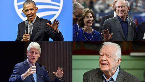 Die vier noch lebenden US-Präsidenten: Barack Obama, George W. Bush, Bill Clinton und Jimmy Carter
