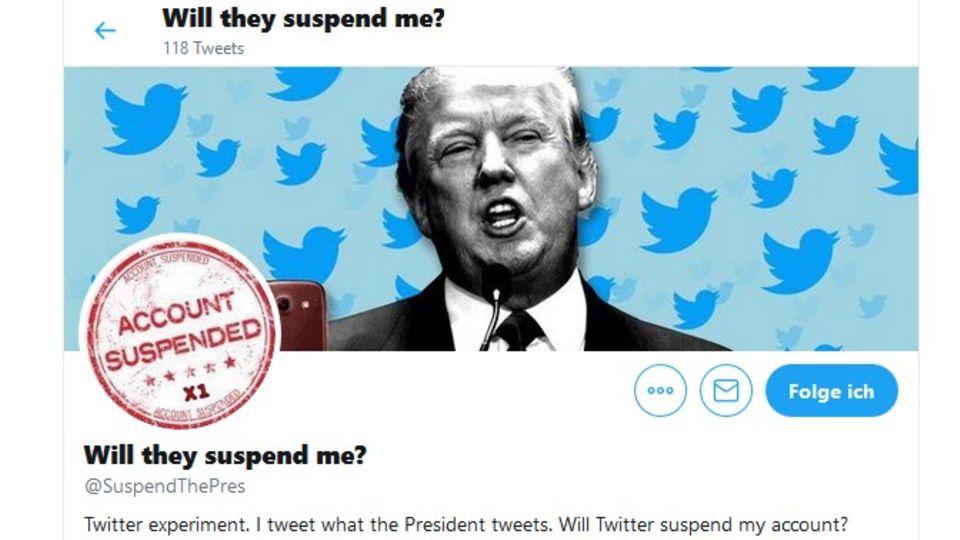Der Screenshot zeigt das Twitter-KontoSuspendThePres, das Donald Trumps Tweets wiedergibt