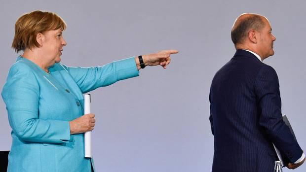 Bundeskanzlerin Angela Merkel (CDU) und Bundesfinanzminister Olaf Scholz (SPD)