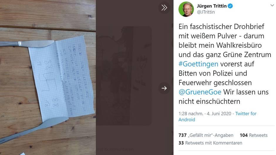Rechter Drohbrief an den Grünen-Politiker Jürgen Trittin