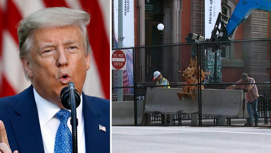 Trump lässt Zäune um das Weiße Haus in Washington DC errichten.