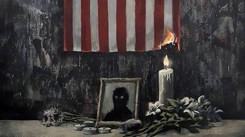 """Straßenkünstler: """"Das ist ein weißes Problem"""" – Banksys neues Bild ist eine Hommage an ermordeten George Floyd"""