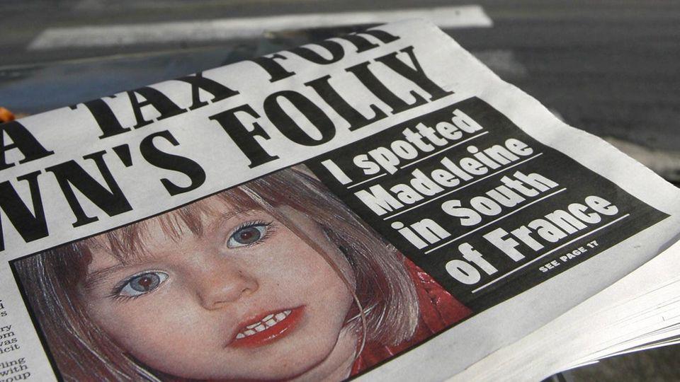 Die Titelseite einer britischen Zeitung zum Fall Maddie (Foto von 2008)