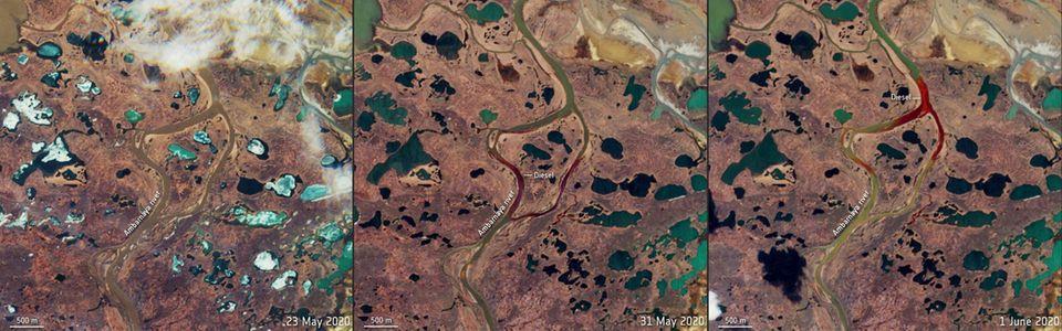 Die Bildkombination zeigt Satellitenbilder, die am 23. Mai (l.), 31. Mai (m.) und 1. Juni (r.) aufgenommen worden sind. Auf den beiden letzten Aufnahmenist die rote Färbung des Flusses Ambarnaja durchdasausgelaufene Öl deutlich zu erkennen.