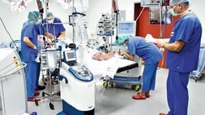 Ärzte operieren einen Leistenbruch. Bei der Suche nach der richtigen Klinik können Hausärzte helfen