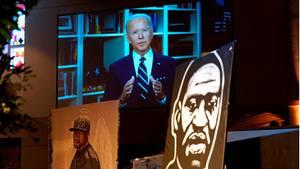 Joe Biden, der designierte Präsidentschaftskandidat der US-Demokraten, wandte sich per Videobotschaft an die trauernde Familie von George Floyd