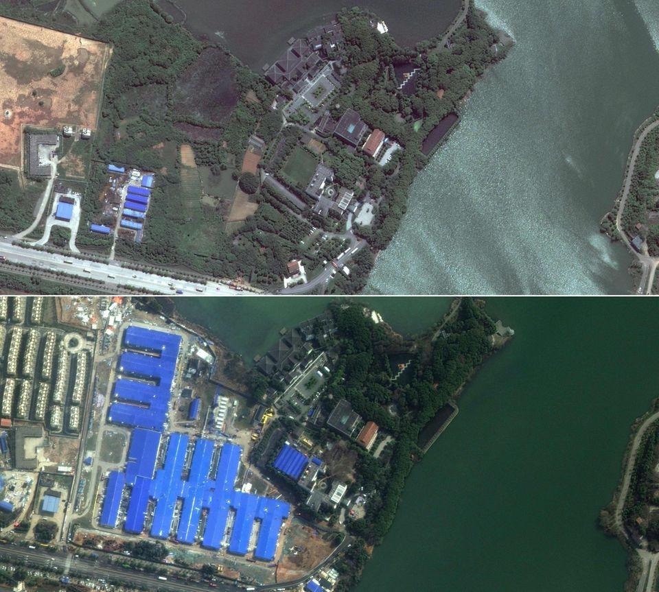 "Coronavirus Wuhan: Das ""Wuhan Huoshenshan Hospital"" - Satellitenbild"