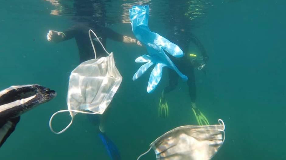 Masken und Handschuhe landen im Meer