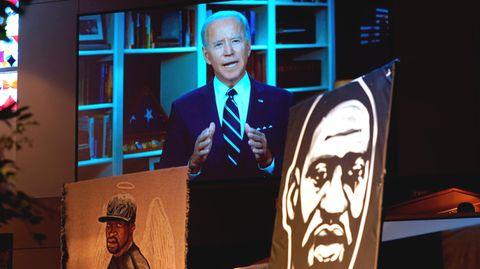 Joe Biden bei seiner Videobotschaft zur Beisetzung von Geroge Floyd