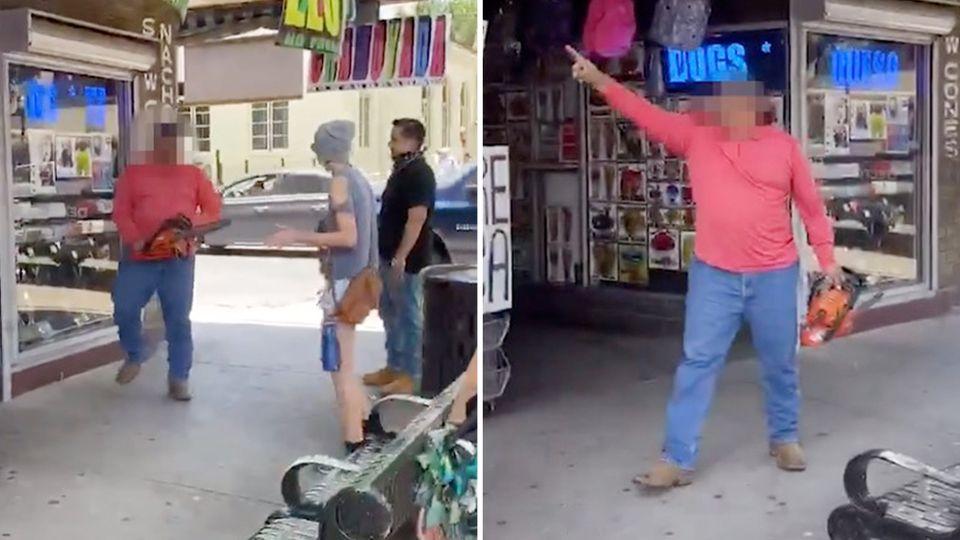 """Ein Mann in McAllen im US-Bundesstaat Texas bedroht """"Black Lives Matter""""-Demonstranten mit einer Kettensäge."""