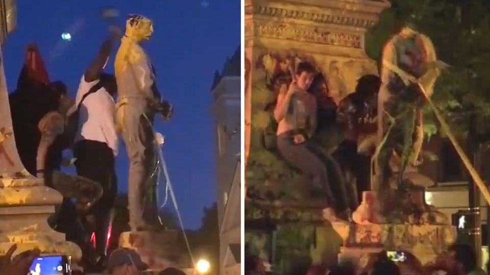 Portsmouth, Virginia: Niedergerissene Statue fällt auf Demo-Teilnehmer und verletzt ihn schwer.