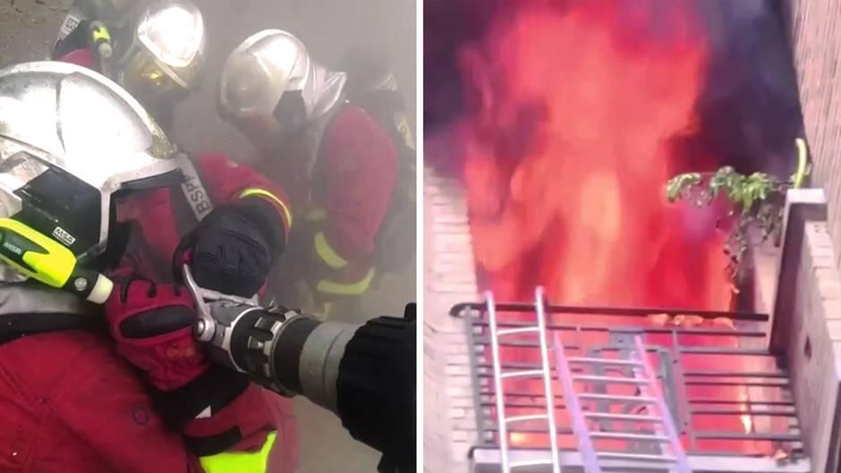 Achtstöckiges Gebäude brennt in Paris