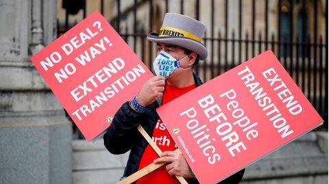 Der Wunsch dieses Demonstranten nach einer Verlängerung der Übergangsfrist beim Brexit wird sich wohl nicht erfüllen