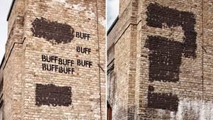 Ein Streetart-Bild des Künstlkers Mobstr an der Fassade eineys Gebäudes in London.