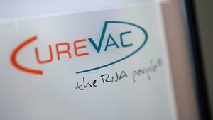 Das Logo des biopharmazeutischen Unternehmens CureVac