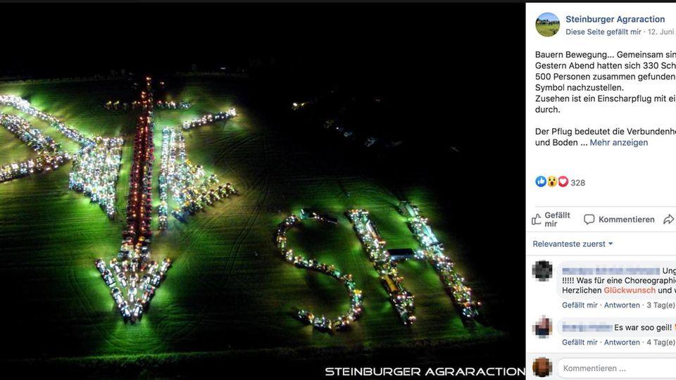 Schleswig-Holstein: Protest gegen Missstände in der Landwirtschaft: Bauern formen rechtes Symbol