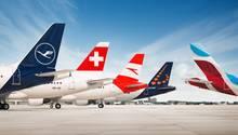 Leitwerke von Jets der Lufthansa Group