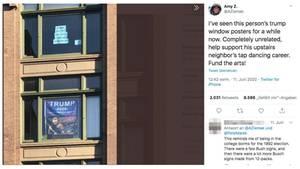 Screenshot Tweet: Bild der Fenster mit Trump-Poster und Spenden-Poster