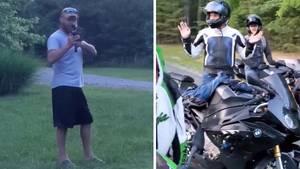 Virginia: Mann richtet ein Sturmgewehr auf einer Gruppe von Bikern.