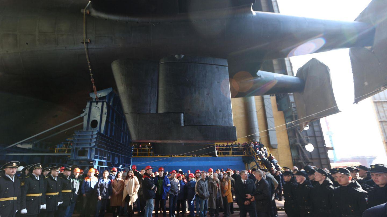 """Im Ende 2019 lief das gigantische Mehrzweck -U-Boot """"Belgorod"""" vom Stapel. Auch dieses Boot soll den Poseidon tragen können. Fotos von Khabarovsk gibt es noch nicht."""